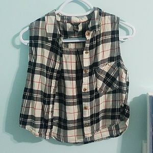 Cropped button up plaid tank